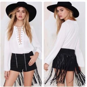 BLANK NYC Whip It Fringe Shorts NWOT